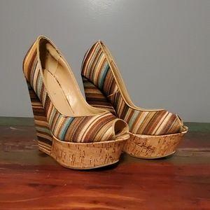 Liliana Striped Peep Toe Platform
